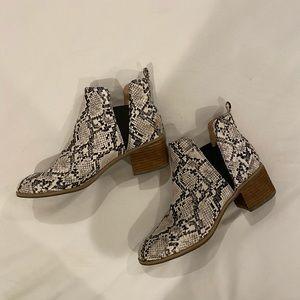 Dr. Scholl's snakeskin booties